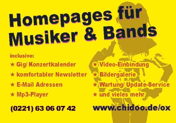 Homepages für Musiker und Bands